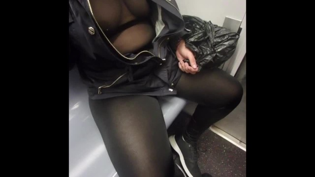 See through sheer lingerie See through spandex and sheer top on trainno bra pierced nipples