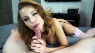 Ball with gives slutty redhead draining tits blowjob big mother of