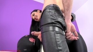 Cuckold pig gets a cumshot facial from My slave  two slaves cum eating slave ruined orgasms female supremacy best handjob cuckold humiliation femdom leather handjob kink whipping cum eating mistress ezada sinn polyandrya corporal punishment