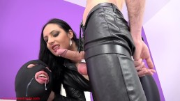 Cuckold pig gets a cumshot facial from My slave