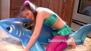Horny Pigtailed Slut Grinds Inflatable Whale to Orgasm  balloon fetish balloon hump balloon pigtails shiny funny masturbate young kink dry humping orgasm petite teenager adult toys dry humping inflatable balloonsluts