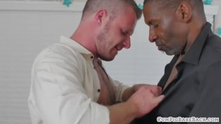 Hunky bear cums while riding black cock Gay fucking