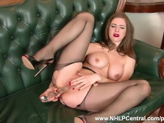 Brunette babe with big natural tits fucks big toy in sexy nylon pantyhose