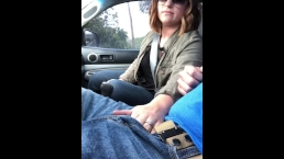 Lunchtime handjob while he drives!!