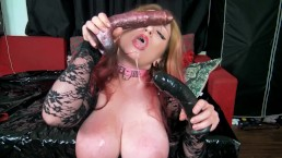 Double Dildo Sloppy Facefuck