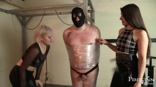 Wrapped and Teased - Miss Ria Harpsichord and Mistress Petite Teasing Guy porno