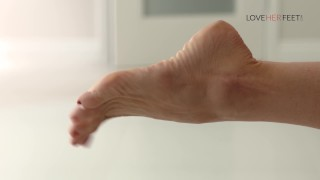 Loveherfeet Hot slutty milf tease with her feet get fucked hard by roommate  cum on feet big tits squirt mom big dick milf kink brunette footjob foot fetish mother foot worship cum on toes big boobs fake tits loveherfeet