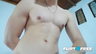 Brian Mendoza on Flirt4Free - Toned Latino Twink Lotions Up Big Uncut Cock Korean edging