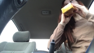 A squirt in freckledred fat cucumber public parkinglot makes me pussy squirting