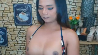 Self Touching Shemale Will Give You a Boner Sex blowjob