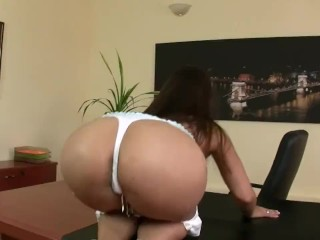 Hot Eve Angel rubbing her cunt at the office
