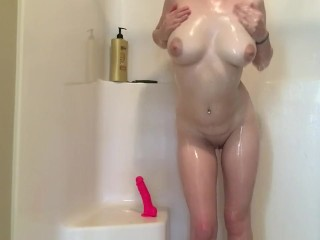 Preview 5 of Teen rides pink dildo in shower