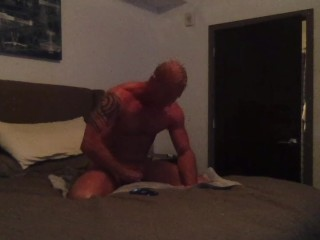Muscle Jock Jacks Off and Blows His Load