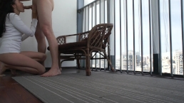 hotel balcony sex and cum in mouth