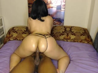 Gorgeous bounces on bbc in sexy black panties...
