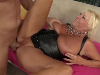 busty blonde GILF enjoys some cock