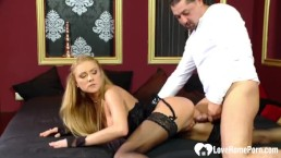 Anal fucking a tight blonde in hot stockings