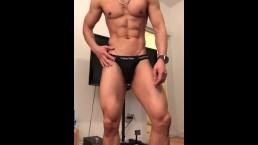 Muscle chastity jock posing