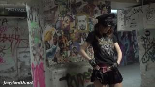 Fetish pantyhose flashing by a rock star
