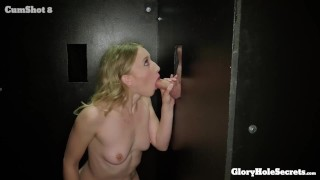 Rileys Reyes 1st GLORYHOLE Experience  wet pussy masturbation gloryholesecrets tiny squirt blonde small tits skinny gangbangcreampie petite gagging toy blowjob swallow glory hole deep throat cum in mouth