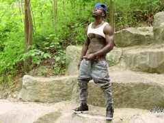 Thick Dark Muscular Dude with BBC jacks at the park. Catch the Nutt