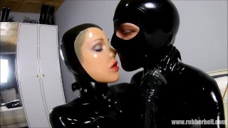 Rubber couple relaxing in full black latex enclosure  rubber kink gummi bondage latex full rubber young couple czech couples rubber catsuit latex catsuit catsuit masturbate