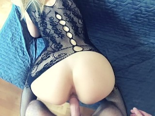 Blonde babe in bodystocking gets doggy fucked POV - Cumtonic