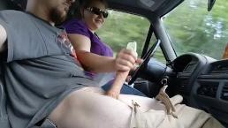 On the road handjob