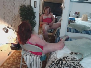 V82 Early DawnSkye Solo masturbation in mirror in pink chemise and heels