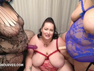 Eliza Allure double penetrated by her two lesbian girlfriends