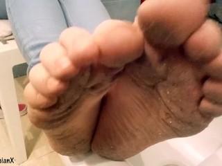 Washing Dirty Feet - Close Up