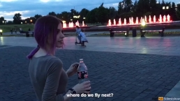 Cute hot teen doing public blowjob, cum in mouth and swallow cum