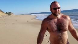 Beach walking in tiny bikini