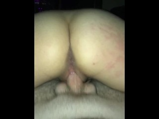 GF rides me reverse cowgirl with creampie
