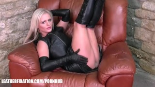 Kinky babes explore feeling of leather on big natural boobs and hot bodies