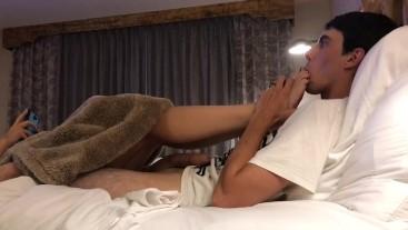I LOVE When He Sucks My Toes! :) Hotel Footjob & Cumshot!