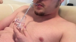 Drinking Cum with a Straw from a Shotglass. Came Twice! CEI Cumslut
