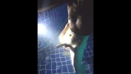 Tanboy Walking around naked Outdoor and Masturbation underwater Public pool