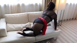 Shemale Alina Wang teasing in sheer black body string and pantyhose
