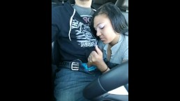 Mexican chick gives road head car Blow Job BJ Blowjob sucks the cock Public