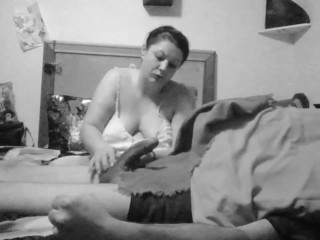 pissed off bbw jerking cheating boyfriends cock .