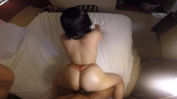 Thick slut does sexy POV in red panties!