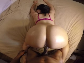 Bubble butt slut takes backshots in pink bra...