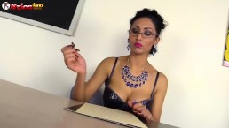Teacher Mistress Alexya in Stockings and Strapon gives you a lesson