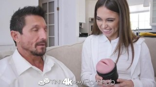 TINY4k Step daughter Riley Reid uses fathers day gift on step dad Cream pie