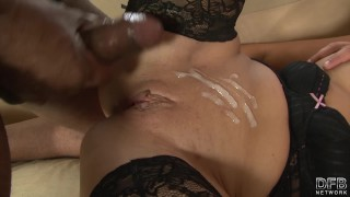 Husband cock riding and watches black masturbates while wife tattoo heels