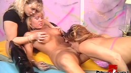 Fingering and hardcore dildoing with three horny busty MILFs