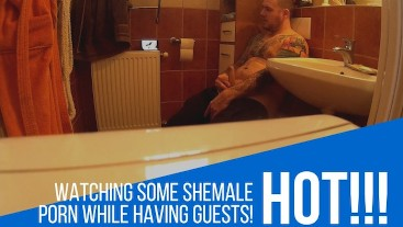 In the bathroom fapping for shemale porn