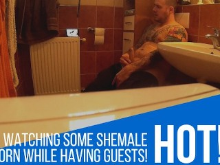 Bathroom fapping for shemale porn...