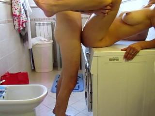 My stepbrother fucks me hard on the washing machine while she goes